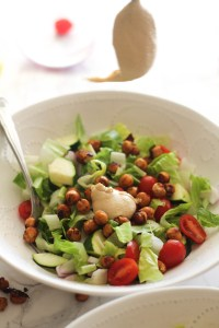 Barbecue Chickpea Chopped Salad that's vegan, gluten free, and incredibly easy to make. It's filled with flavor, plant based protein, and tons of nutrients. Plus, it's ready in under 20 minutes!