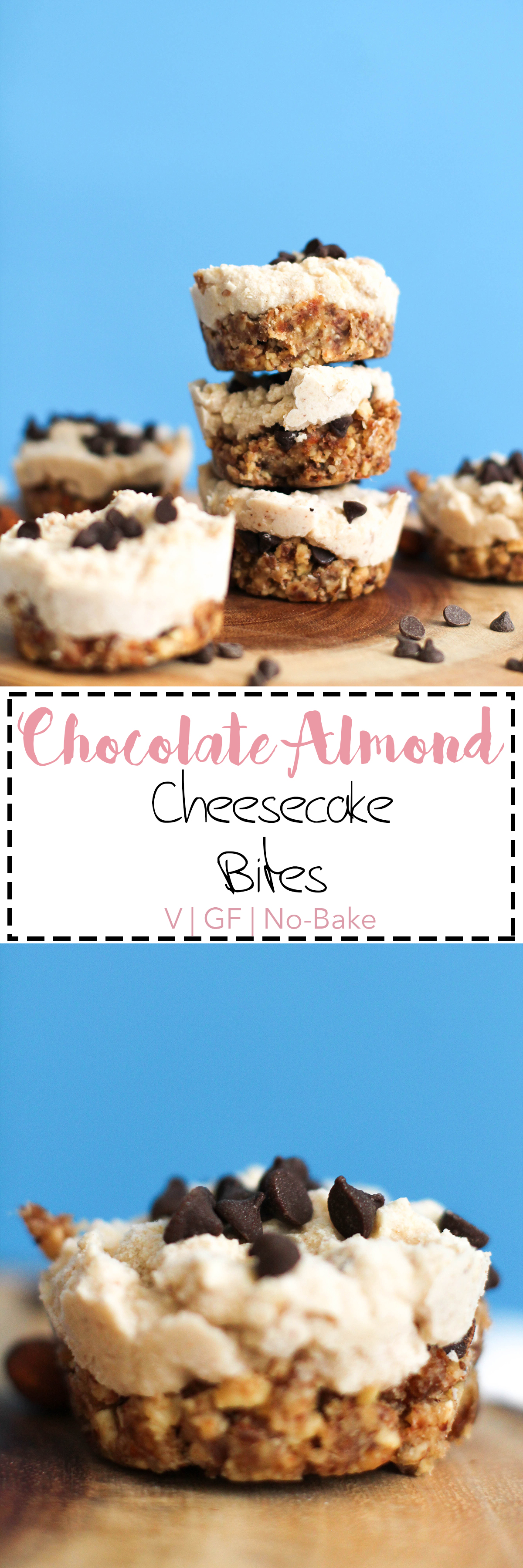 These chocolate almond cheesecake bites are the perfect dessert. They're no-bake, vegan, gluten free, refined sugar free, and absolutely delicious. Sweetened with dates, maple syrup, and loaded with flavor, these will satisfy anyone.
