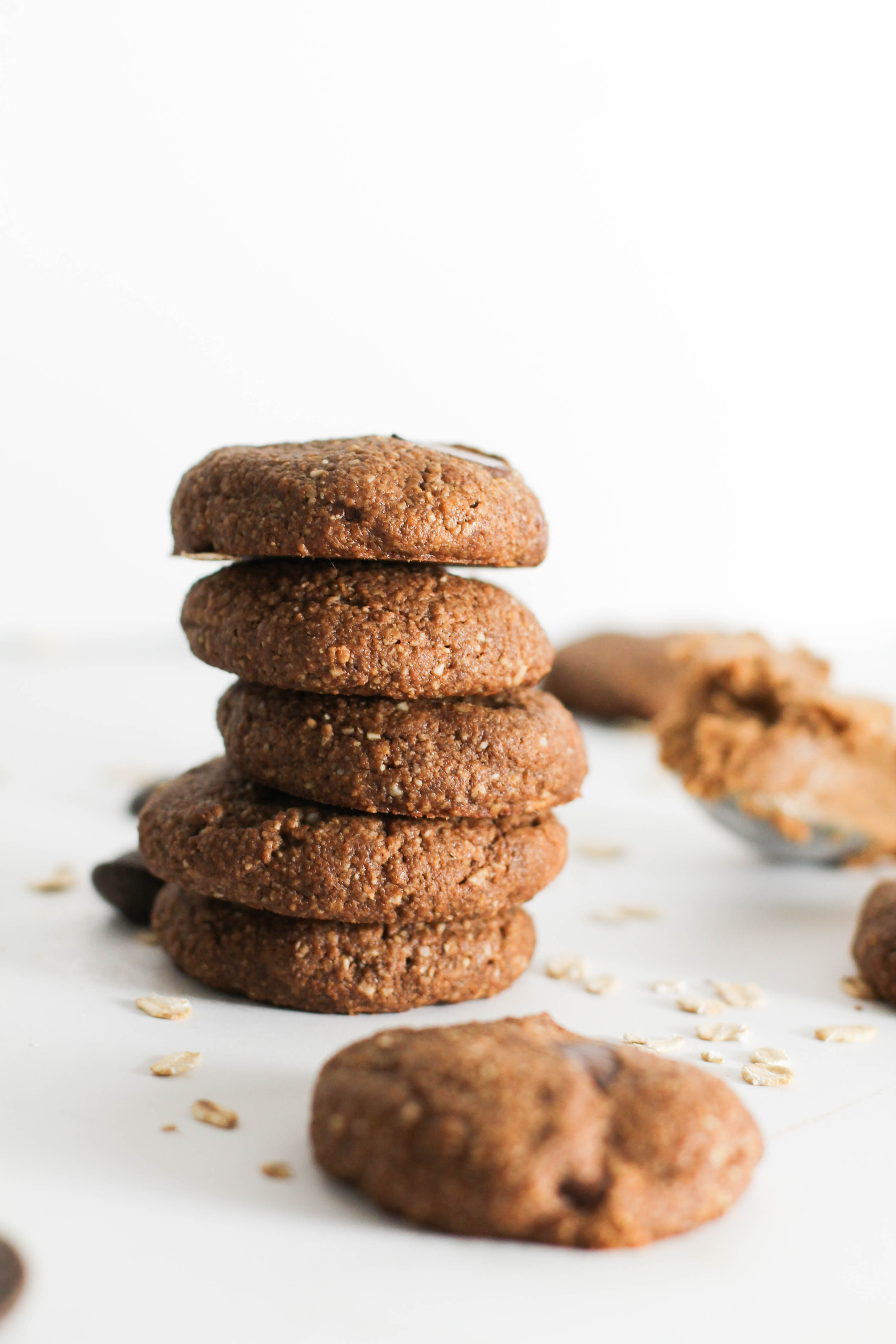 These flourless chocolate almond butter cookies are vegan, gluten free, and delicious. They require one bowl, 30 minutes, and less than 10 ingredients. Filled with chocolate and almond butter, these make for the perfect dessert.