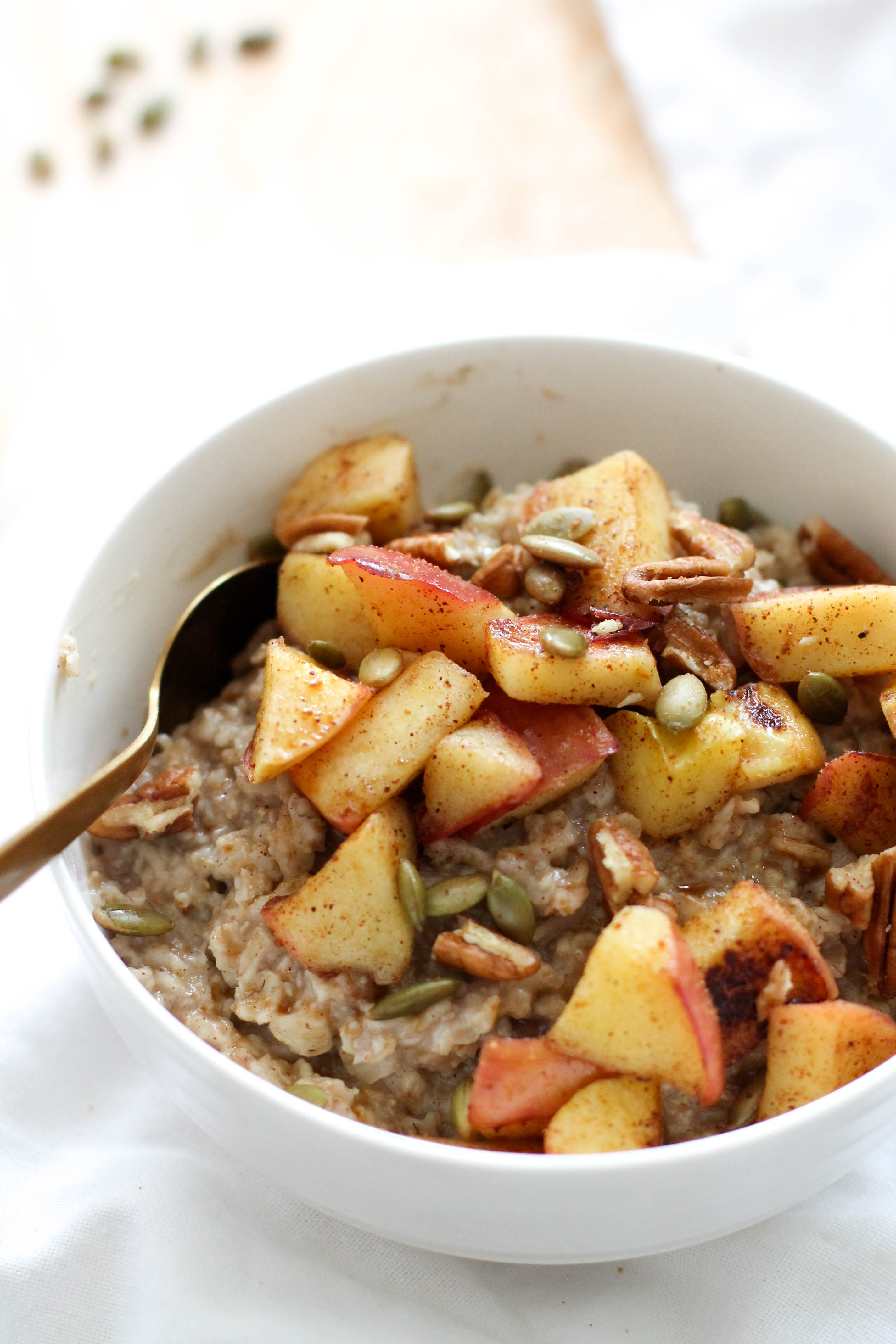 This spiced apple breakfast bowl is a delicious, cozy breakfast for any day of the week. It's filled with spices, sweetness, and flavor. Plus, it's vegan and gluten free!