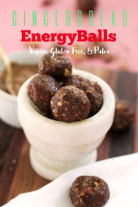 These gingerbread energy balls are vegan, gluten free, paleo and no bake! They have tons of Christmas flavor, are packed with nutrients, and incredibly tasty. Make a batch of these for some afternoon pick me up's or to crumble onto your snack.