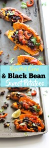These roasted corn & black bean stuffed sweet potatoes make for the perfect side dish at any party, or as a main course. They're filled with plant based protein, healthy fats, fiber, complex carbs, and flavor! Serve these with some avocado and roasted vegetables for a great, filling dish.
