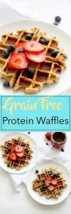 These grain free protein waffles are a great, healthy breakfast treat that tastes amazing. These waffles are full of flavor, healthy fats, protein, and leave you feeling satisfied for hours.