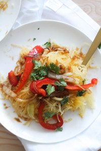 These spaghetti squash pad Thai is vegan, gluten free, minimal ingredients, and the perfect dinner. It comes together in 30 minutes, is full of flavor, and is a lighter option to a classic dish.