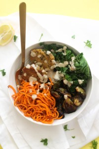 This sweet potato noodle falafel bowl is healthy, easy to make, and requires minimal ingredients! It makes for an easy weekday lunch or dinner.