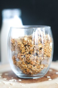 This pumpkin quinoa granola is vegan, gluten free, refined sugar free, easy to make, and full of flavor! It's oil free, but still packs tons of crunch.