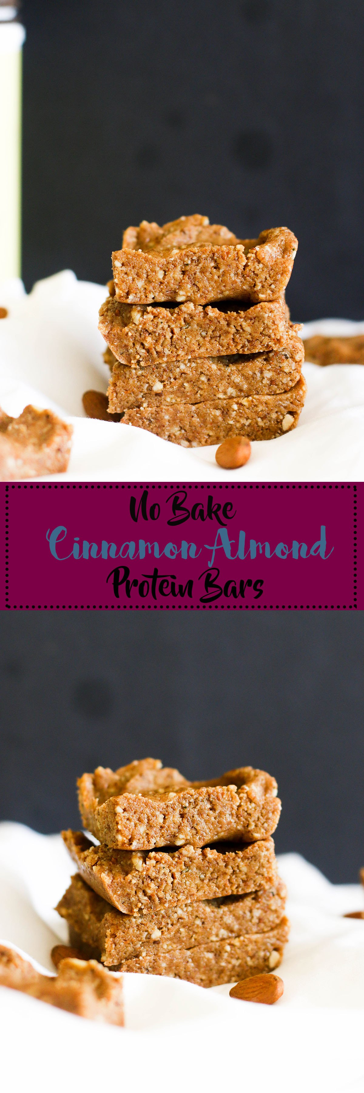 These no bake cinnamon almond protein bars are gluten free, refined sugar free, packed with protein, and the perfect snack. They're made with all natural ingredients and come together in an hour.