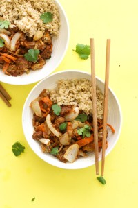 This almond butter tempeh stir-fry is vegan, gluten free, and protein packed! It's made with minimal ingredients, requires less than an hour, and makes for a great meal prep dish.