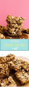 These no bake oatmeal cacao bars are vegan, gluten free, refined sugar free, & filled with flavor. They make for a great snack and are ready in under an hour!