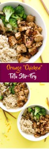 """This orange """"chicken"""" tofu stir-fry is vegan, gluten free, protein packed, and a healthy twist on a classic take out meal! It's filled with flavor, takes minimal ingredients, and makes for a great meal."""