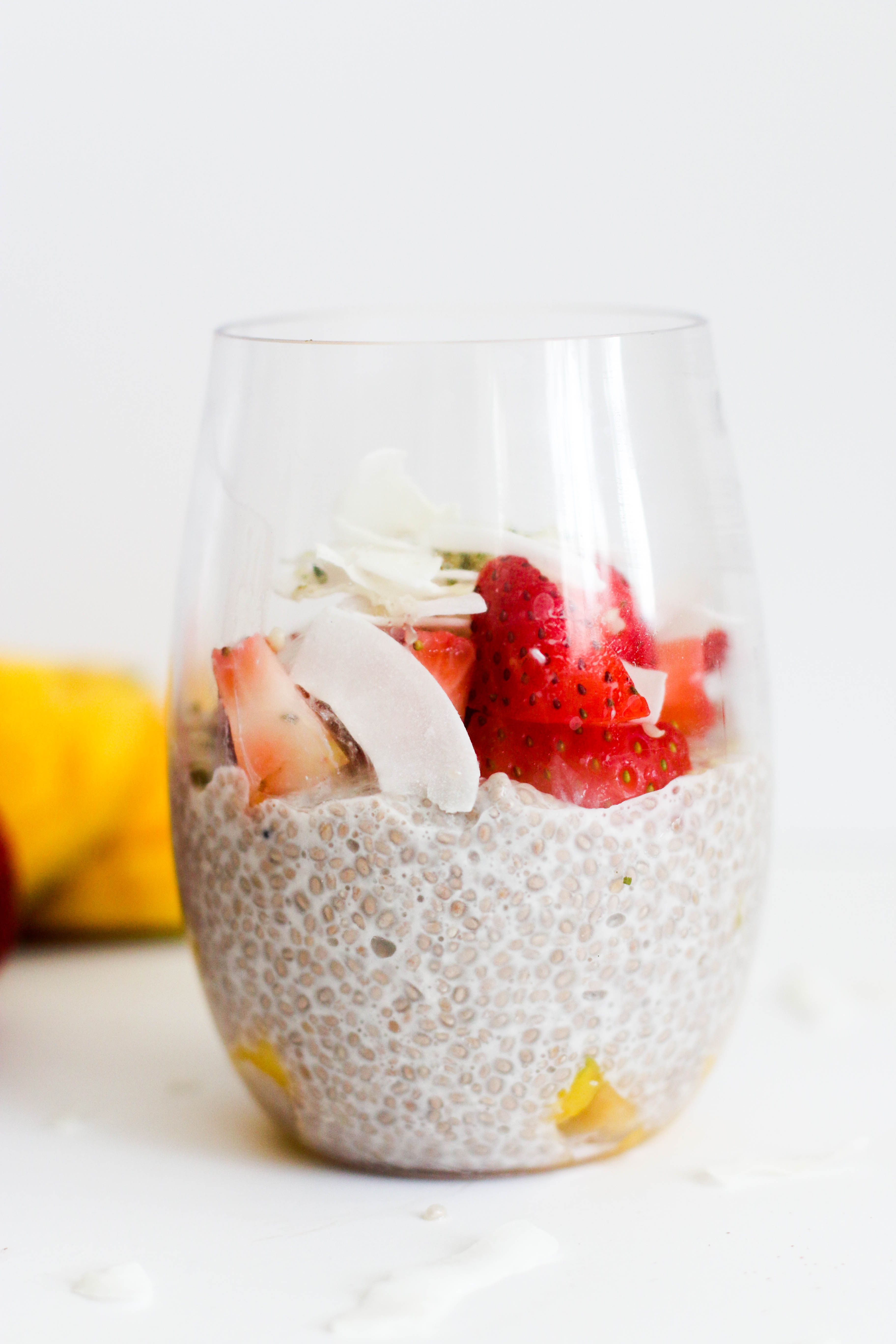 This mango strawberry chia pudding is vegan, gluten free, paleo, and delicious! It's made with minimal ingredients, requires almost no dishes, and is filled with nutrients.