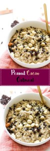 This 15 minute peanut cacao oatmeal is vegan, gluten free,packed with flavor, and the perfect breakfast dish!