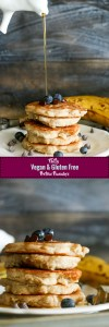 These fluffy vegan & gluten free protein pancakes are easy to make, refined sugar free, packed with flavor, and the perfect treat! Ready in 3o minutes and packed with protein, they're a great refuel meal.