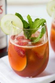 Strawberries Pimms cup cocktail