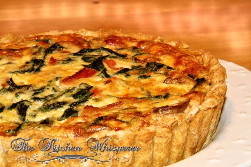 Bacon Mushroom Florentine Quiche with Olive Oil Savory Crust