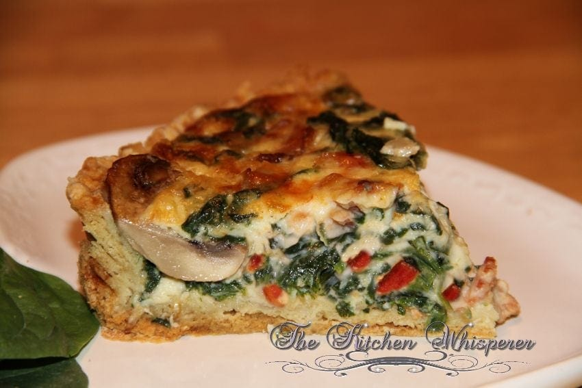 Bacon Mushroom Florentine Quiche with Olive Oil Savory Crust3