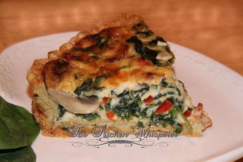 Bacon Mushroom Florentine Quiche with Olive Oil Savory Crust4