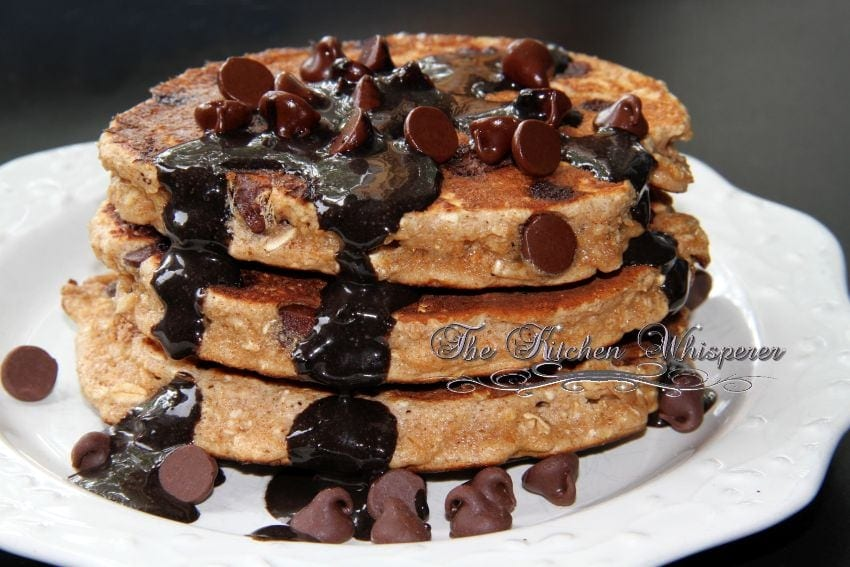 Protein Packed Chocolate Chip Oatmeal Cookie Pancakes with Chocolate Cream Syrup1