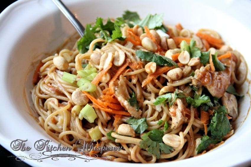 Thai Noodles with Chicken in a Spicy Peanut Sauce