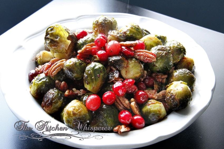 Roasted Brussels Sprouts Cranberries Pecans