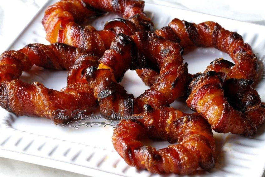 Baked Sriracha Glazed Bacon Wrapped Onion Rings10
