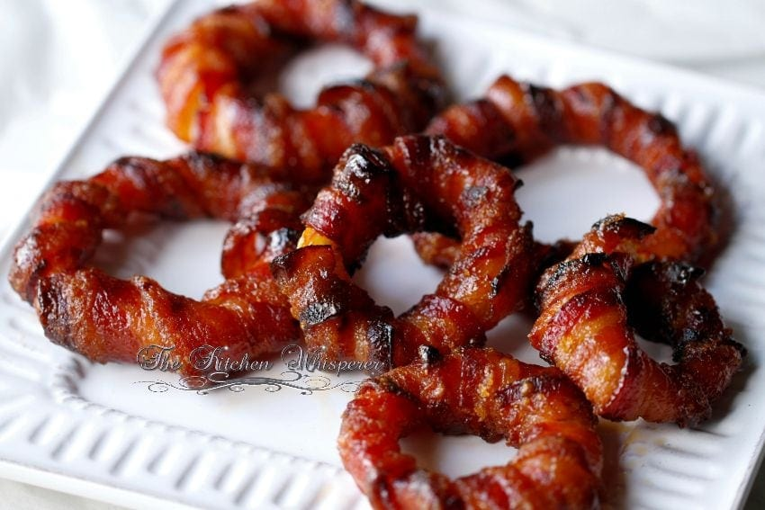 Baked Sriracha Glazed Bacon Wrapped Onion Rings7