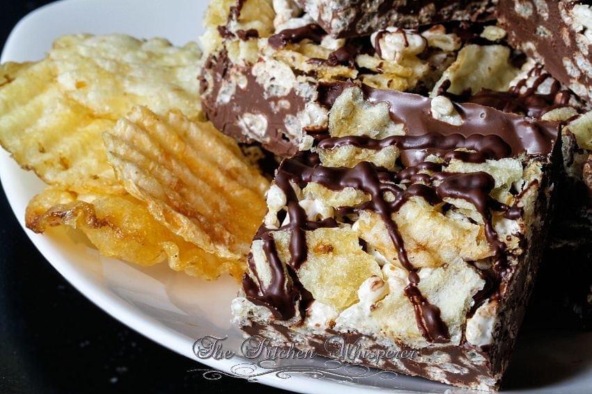 Potato Chip Rice Crispy Treat Triple Chocolate Bark4