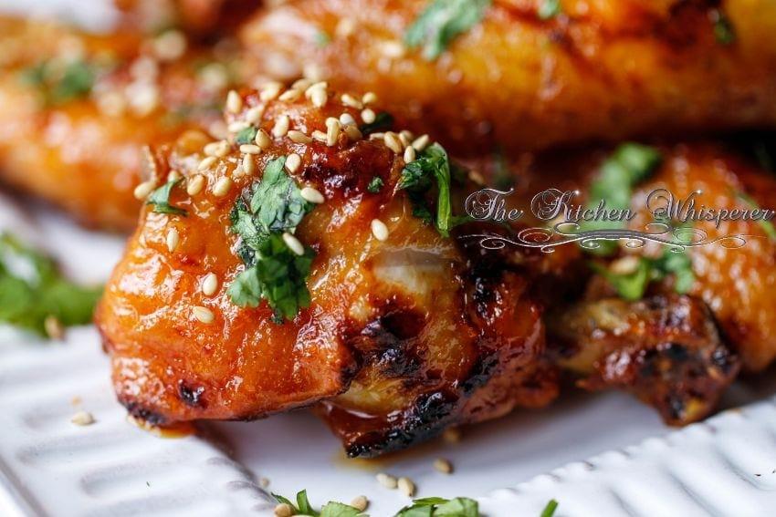 Sriracha Honey Buttered Crispy Baked Oven Fried Wings