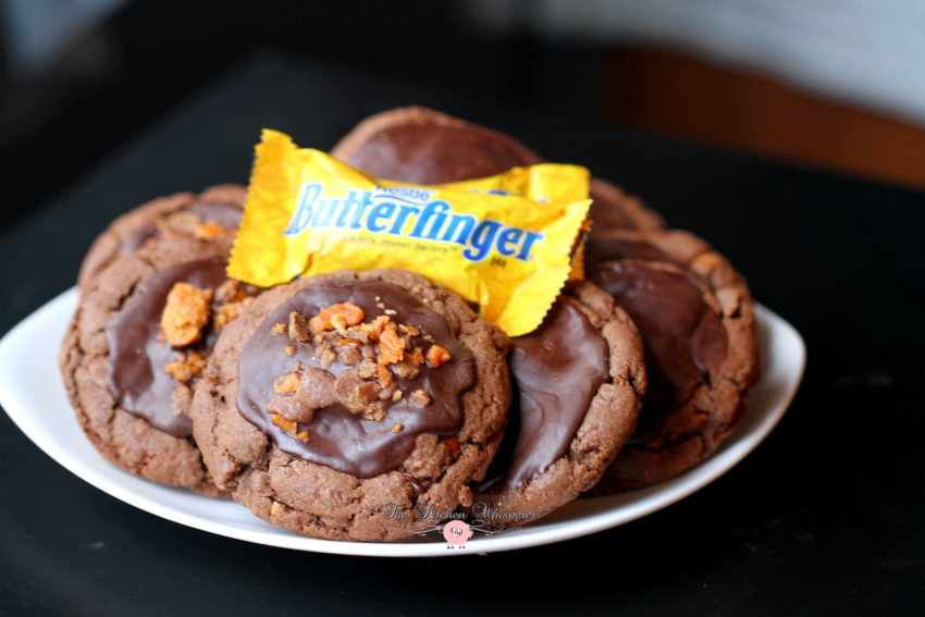 Chocolate Cookie Butter Cookies with Butterfinger Crumbles6