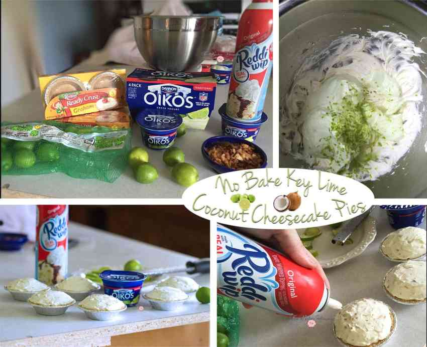 No Bake Key Lime Coconut Cheesecakes Collage2