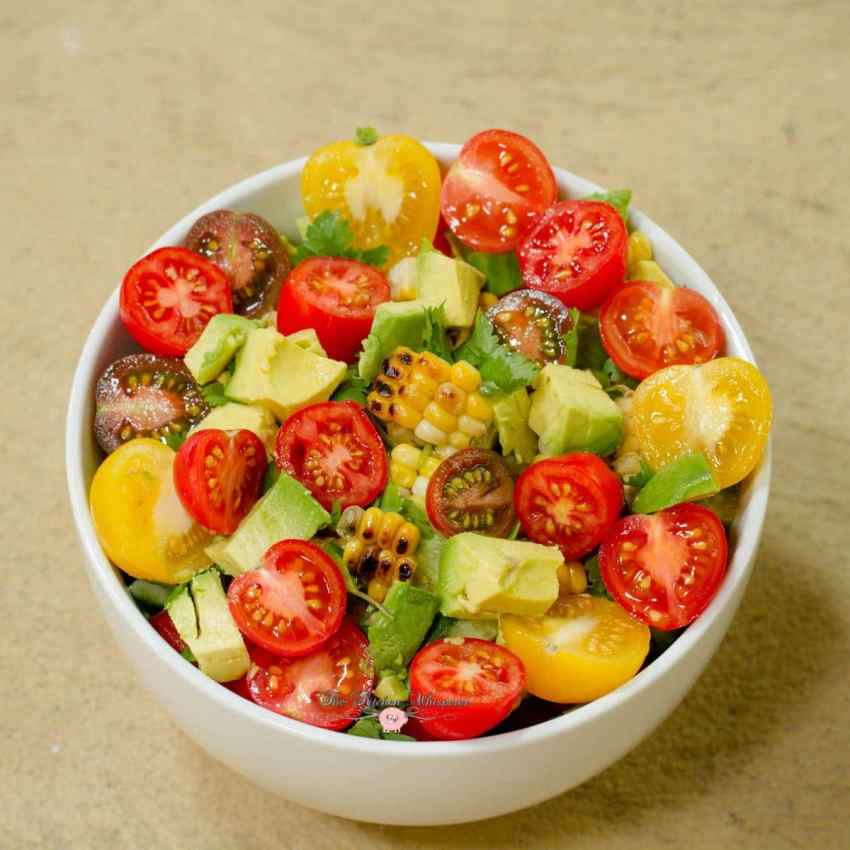 Rainbow Tomato Roasted Corn Summer Quenching Salad10