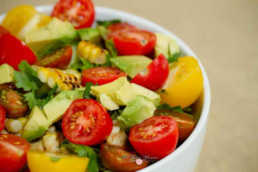 Rainbow Tomato Roasted Corn Summer Quenching Salad12
