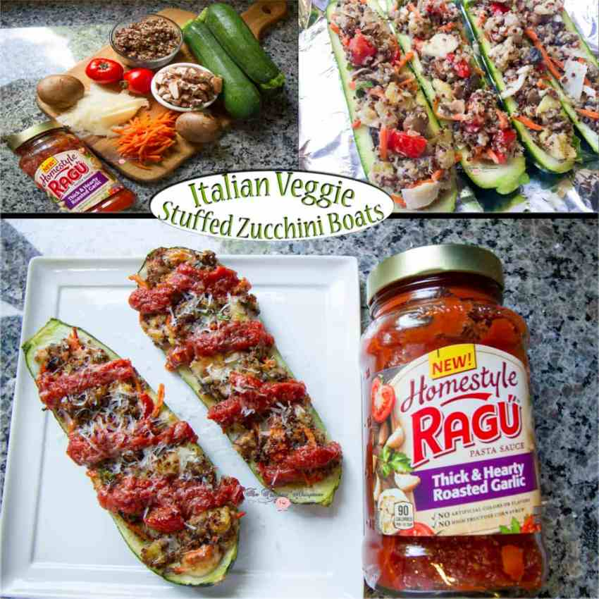 Italian Veggie Stuffed Zucchini Boats Collage