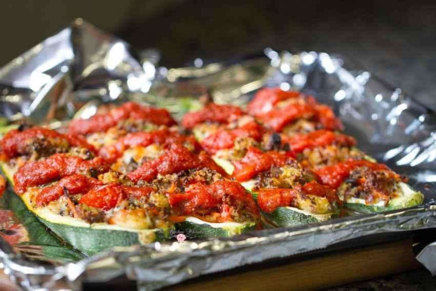 Italian Veggie Stuffed Zucchini Boats13