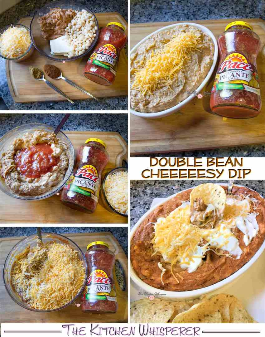 double-bean-cheeesy-dip-collage