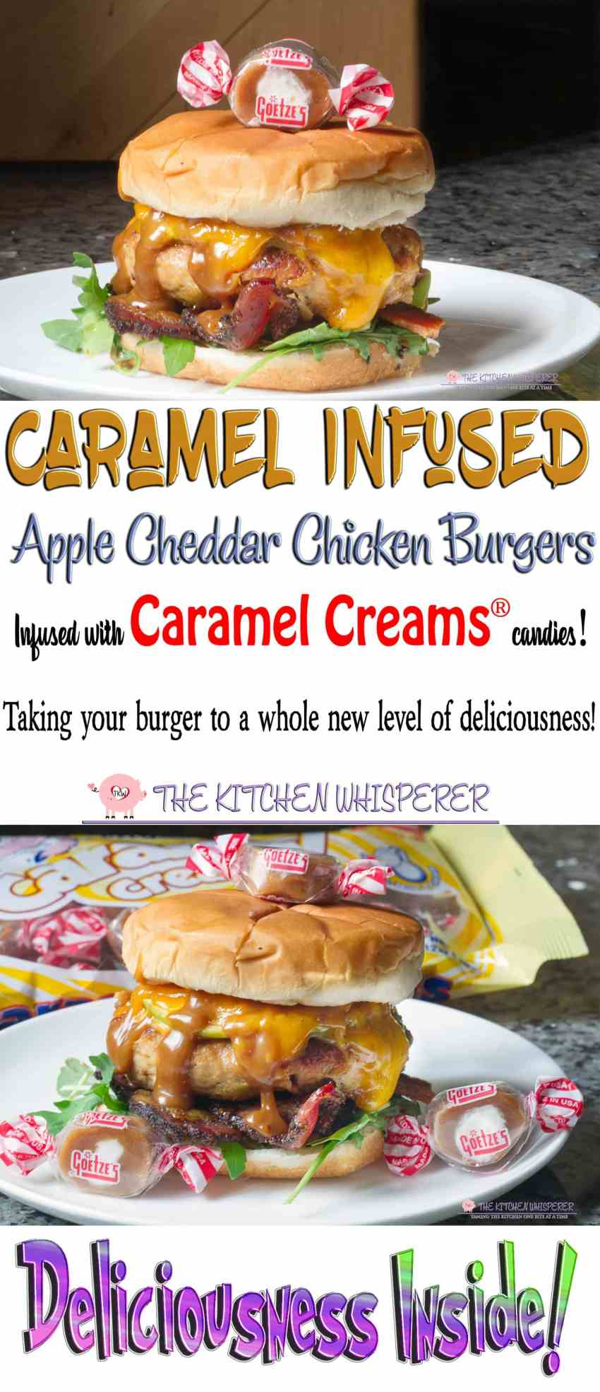 Carmel Infused Apple Cheddar Chicken Burgers made with Caramel Creams®