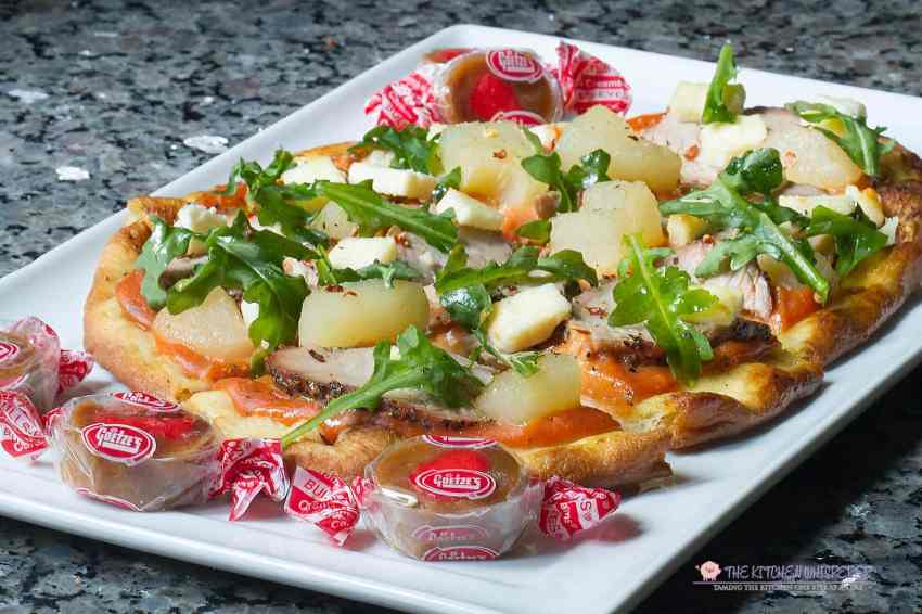 Spiced Pork Flatbread with Caramel Sweet Potato Pizza Sauce