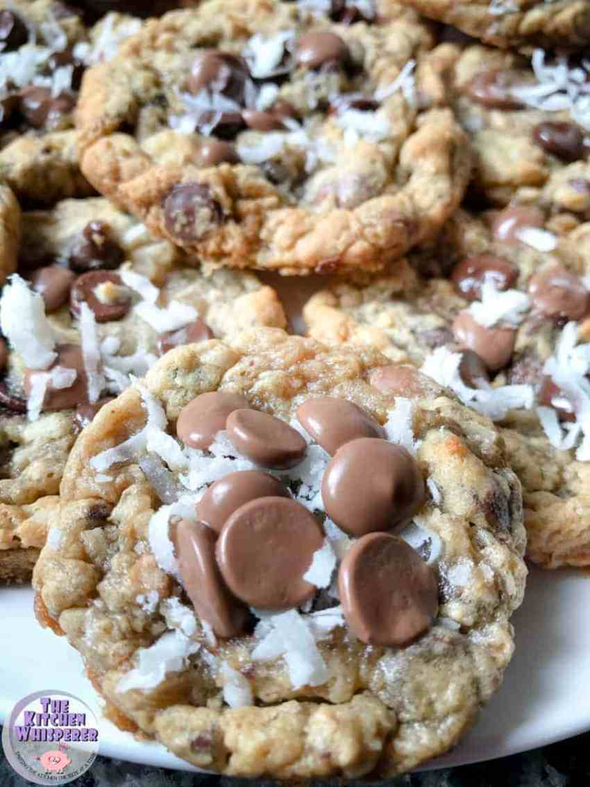 Chewy Chocolate Chip Cookies with Coconut and Toffee