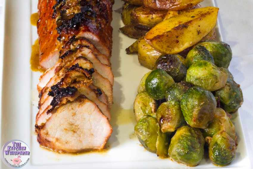 Sheet Pan Applewood Bacon Top Pork Tenderloin, Herbed Potatoes and Brussels Sprouts
