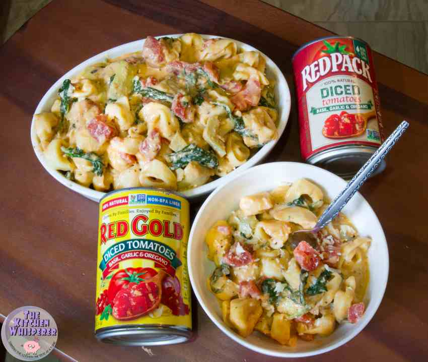 Italian Tomato Tortellini with Spinach & Artichokes in a Grana Padano Cream Sauce