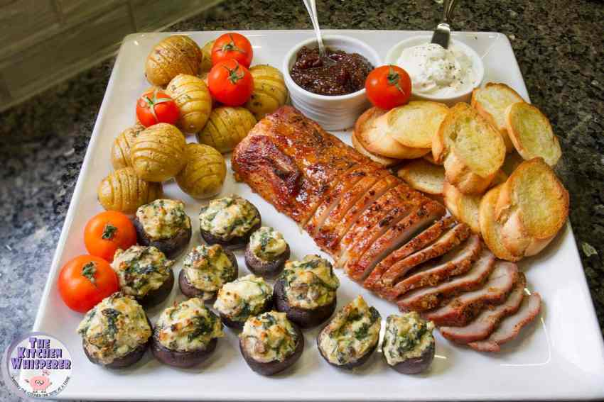 Sheet Pan Savory Brown Sugar Pork Tenderloin with Hasselback Potatoes and Stuffed Mushrooms