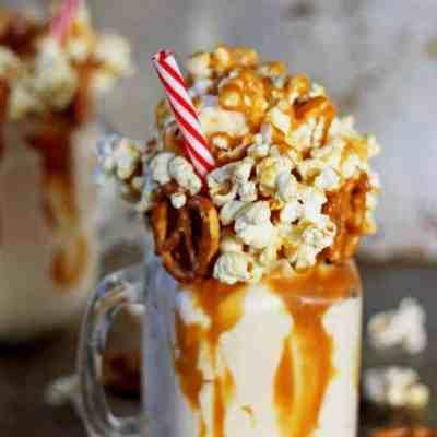 Salted Caramel Kettle Corn Epic Milkshake {with pretzels!}
