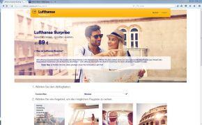 Homepage von Lufthansa Surprise.