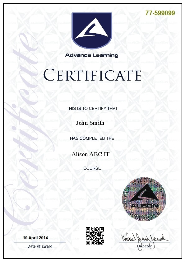Sample PDF certification by Alison