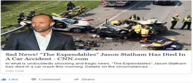 Jason Statham Car Accident Dead Hoax