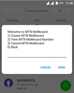 MTN Momocard menu