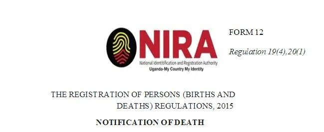 NIRA Death Certificate Form 12 [Download Preview]