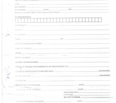Old URA Motor Vehicle Manual Ownership Transfer Form