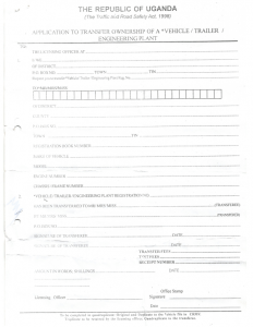 Old URA Motor Vehicle Manual Ownership Transfer Form