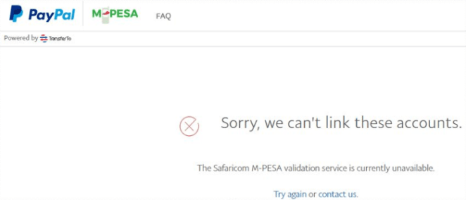 The Safaricom M-PESA validation service is currently unavailable.